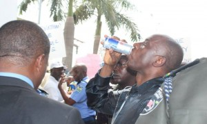 Amaechi at Wednesday's protest at Police Hqtrs