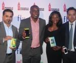 From left: Abdul Jabbar, VP, Marketing, Middle East and Africa, Fly Mobile Phone; Elega Christian, Country Sales Manager, First Choice, Fly Mobile Phone distributor in Nigeria; Onyeka Kelikume, Manager, First Choice and Nitin Sood, Managing Director, Fly Mobile Phone during the launching of Fly Mobile Phone to Nigerian Market held in Lagos.