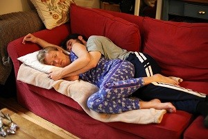 woman cuddled