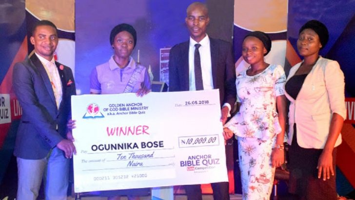 Abosede Wins 10,000 In Anchor Bible Quiz Competition Season 1