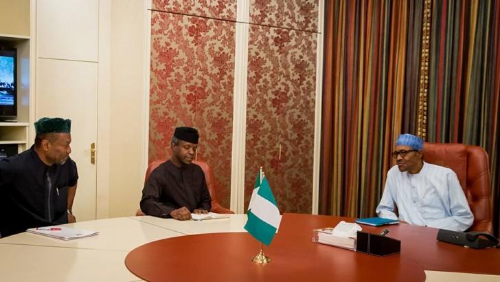 Buhari Meets Osinbajo, Budget Minister (Photos)