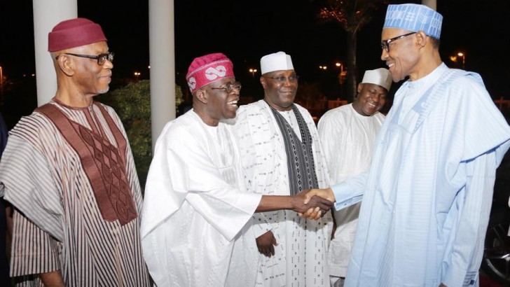 PHOTOS: Tinubu, Atiku, Saraki Meet Buhari At Presidential Dinner